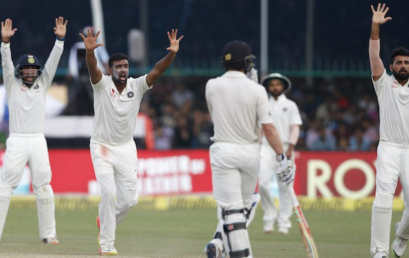Ravichandran Ashwin of India makes an unsuccessful appeal during day 4 of the first test match between India and New Zealand held at the Green Park stadium on the 25th September 2016.  Photo by: Deepak Malik/ BCCI/ SPORTZPICS